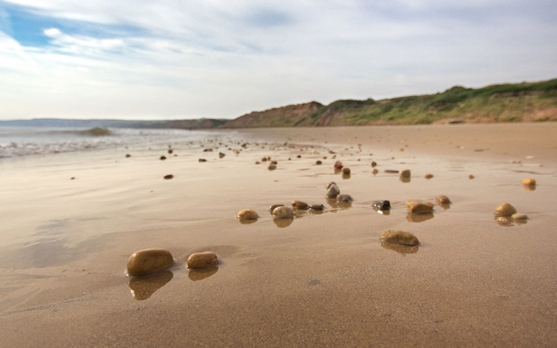 Bay Filey beach pebbles