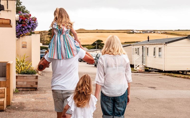 Family walking at Newquay Bay Resort