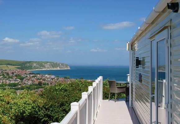 Caravan sea and hill view Swanage Bay View