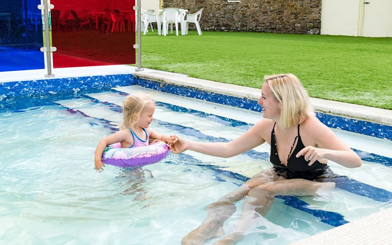 Mother & Daughter outdoor swimming pool Bude